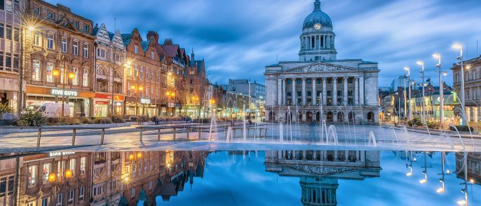 Nottingham, England - April 03, 2018: View of the main Market Square, Nottingham Council House building behind.