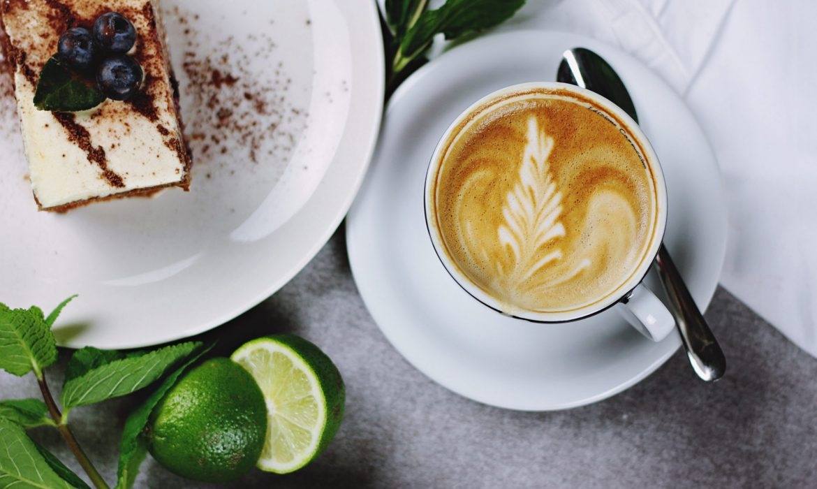 cake and coffee on a table
