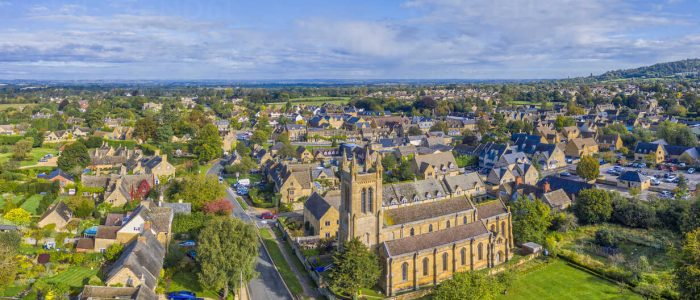 Aerial view over the village of Broadway, Cotswolds, Broadway, Worcestershire, England, United Kingdom, Europe
